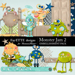 Monster Jam Embellishment Pack 2-$2.99 (Ettes and Company by Fayette)