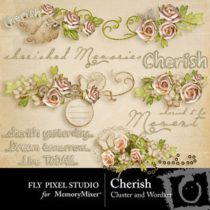 Cherish wordart and clusters medium