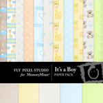 Its a Boy Paper Pack-$3.49 (Fly Pixel Studio)