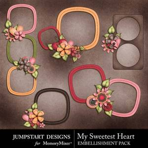 My sweetest heart cluster frames medium
