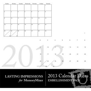 2013 calendar dates medium