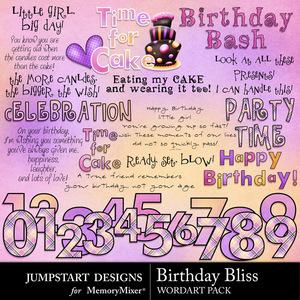 Birthday bliss wordart medium