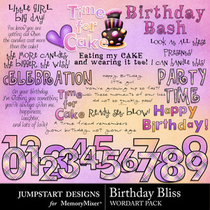 Birthday bliss wordart medium
