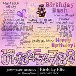 Birthday bliss wordart small