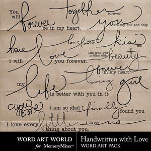 Handwritten with love wordart medium