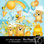 Bee Happy Embellishment Pack-$2.99 (Fly Pixel Studio)