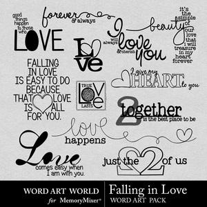 Falling in love wordart medium