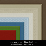 Baseball Star Embossed Paper Pack-$2.99 (Lindsay Jane)