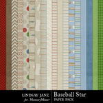 Baseball Star Paper Pack-$3.99 (Lindsay Jane)