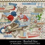 Baseball Star Embellishment Pack-$3.49 (Lindsay Jane)