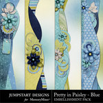 Pretty in Paisley Blue Border Pack-$1.79 (Jumpstart Designs)