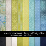 Pretty in Paisley Blue Paper Pack-$1.79 (Jumpstart Designs)