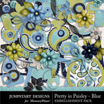 Pretty in Paisley Blue Embellishment Pack-$3.49 (Jumpstart Designs)