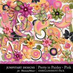 Pretty in Paisley Pink Embellishment Pack-$3.49 (Jumpstart Designs)