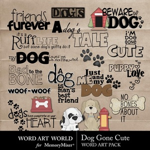 Dog gone cute wordart medium