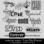 Love You Forever WordArt Pack-$1.49 (Word Art World)