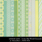 Color My World Greenish Paper Pack-$3.49 (Lindsay Jane)