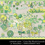 Color My World Greenish Embellishment Pack-$3.49 (Lindsay Jane)