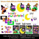 Happy Owl Oween Embellishment Pack-$2.99 (Tara Reed Designs)
