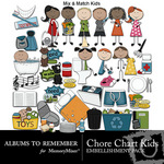Chore Chart Kids Embellishment Pack-$3.49 (Albums to Remember)