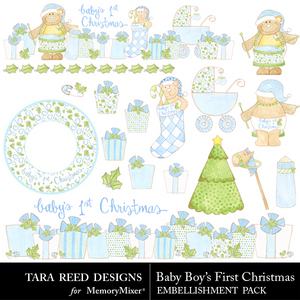 Baby boys first christmas emb medium