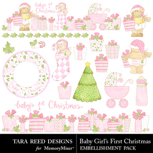 Baby girls first christmas emb medium