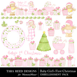 Baby Girls First Christmas Embellishment Pack-$2.99 (Tara Reed Designs)