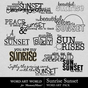 Sunrise sunset wordart medium