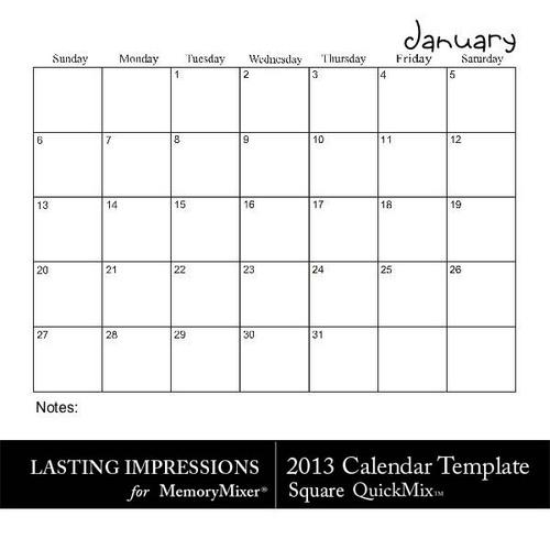 2013 Calendar Template Square Quickmix Scrapbook Page Design