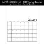 2013 Calendar Template Portrait QuickMix-$1.00 (Lasting Impressions)