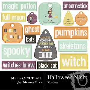 Halloween night wordart medium