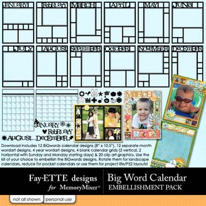 Big words calendar emb medium