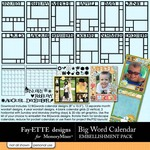 Big Words Calendar Embellishment Pack-$2.49 (Ettes and Company by Fayette)
