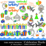 Celebration Sharks Embellishment Pack-$2.99 (Tara Reed Designs)