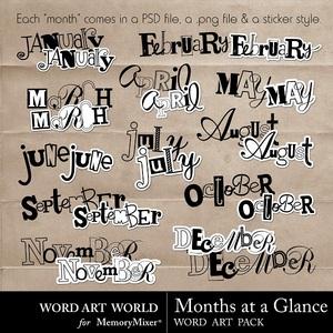 Months at a glance wordart medium