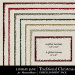 Traditional christmas lj glitter borders small