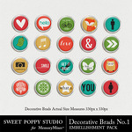 Decorative Brads Number 1 Pack-$1.99 (Sweet Poppy Studio)