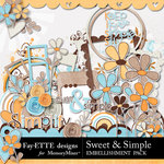 Sweet and Simple Embellishment Pack-$3.49 (Ettes and Company by Fayette)