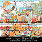 Happy Face Embellishment Pack-$3.49 (Ettes and Company by Fayette)