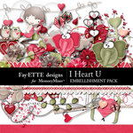I Heart U Embellishment Pack-$3.49 (Ettes and Company by Fayette)