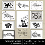 Printable Card Fronts WordArt-$2.49 (Word Art World)