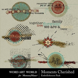 Moments cherished word art clusters medium