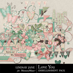 Love You Embellishments-$3.49 (Lindsay Jane)