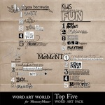 Top Five WordArt-$2.49 (Word Art World)