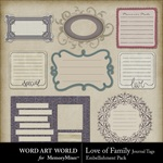 Love of Family Journal Tags-$2.99 (Word Art World)
