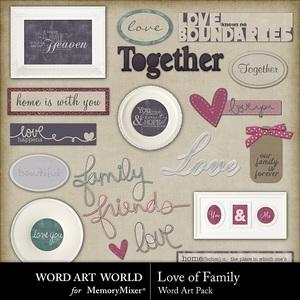 Love of family word art medium