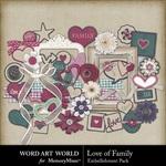 Love of Family Embellishment Pack-$3.49 (Word Art World)