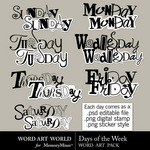 Days of the Week WordArt-$2.49 (Word Art World)
