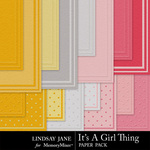Its A Girl Thing Embossed Paper Pack-$1.99 (Lindsay Jane)