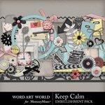 Keep Calm Embellishment Pack-$3.29 (Word Art World)